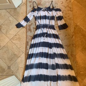 ELAN navy and white tie dye stripe dress, medium